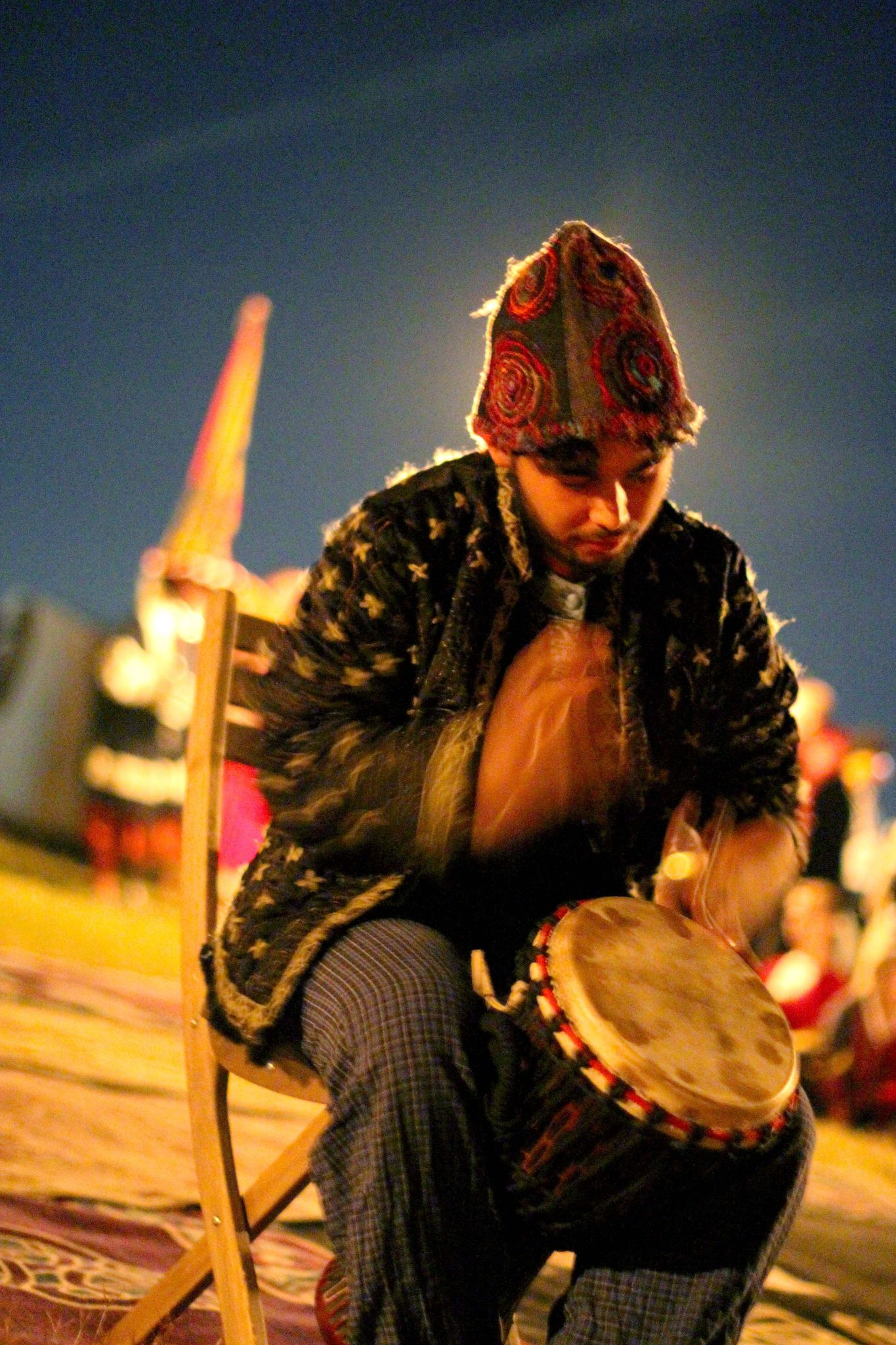 drummer at evening fireside