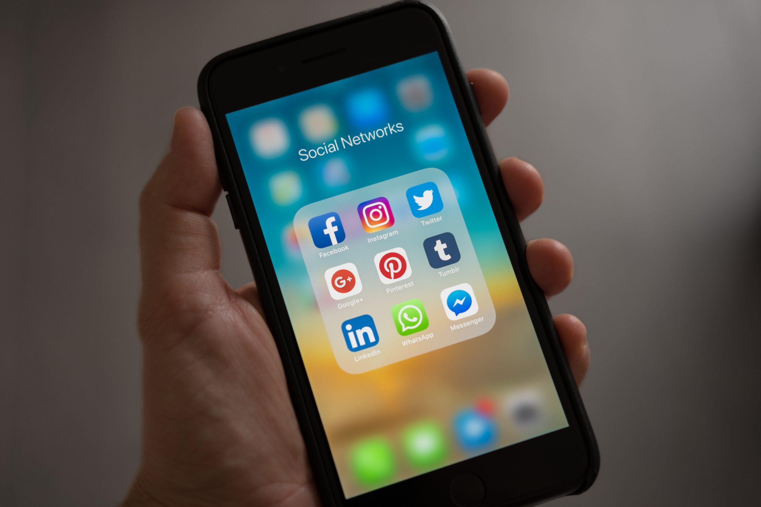Social media channels on a phone.